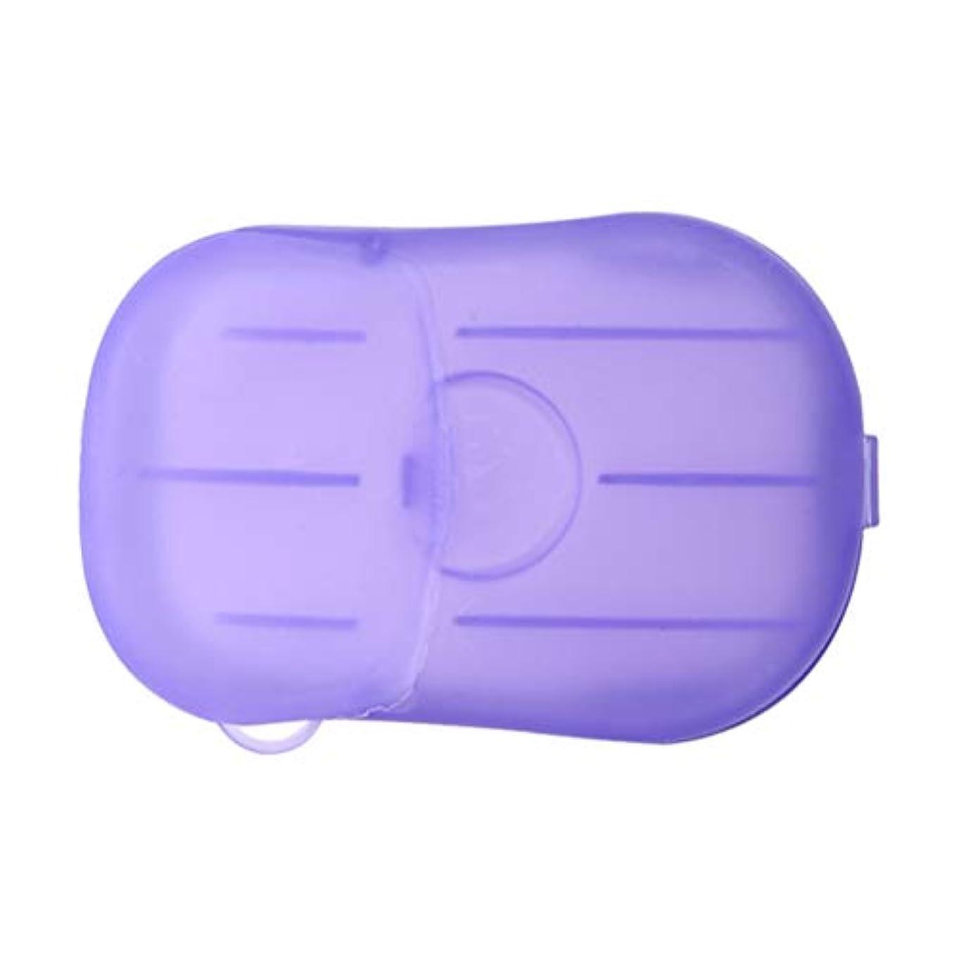 代表して叫び声定数LIOOBO 20ピース石鹸フレーク使い捨てクリーニングペーパーポータブルシャワー用品手洗い石鹸シーツ付きトラベルキャンプハイキング(パープル)