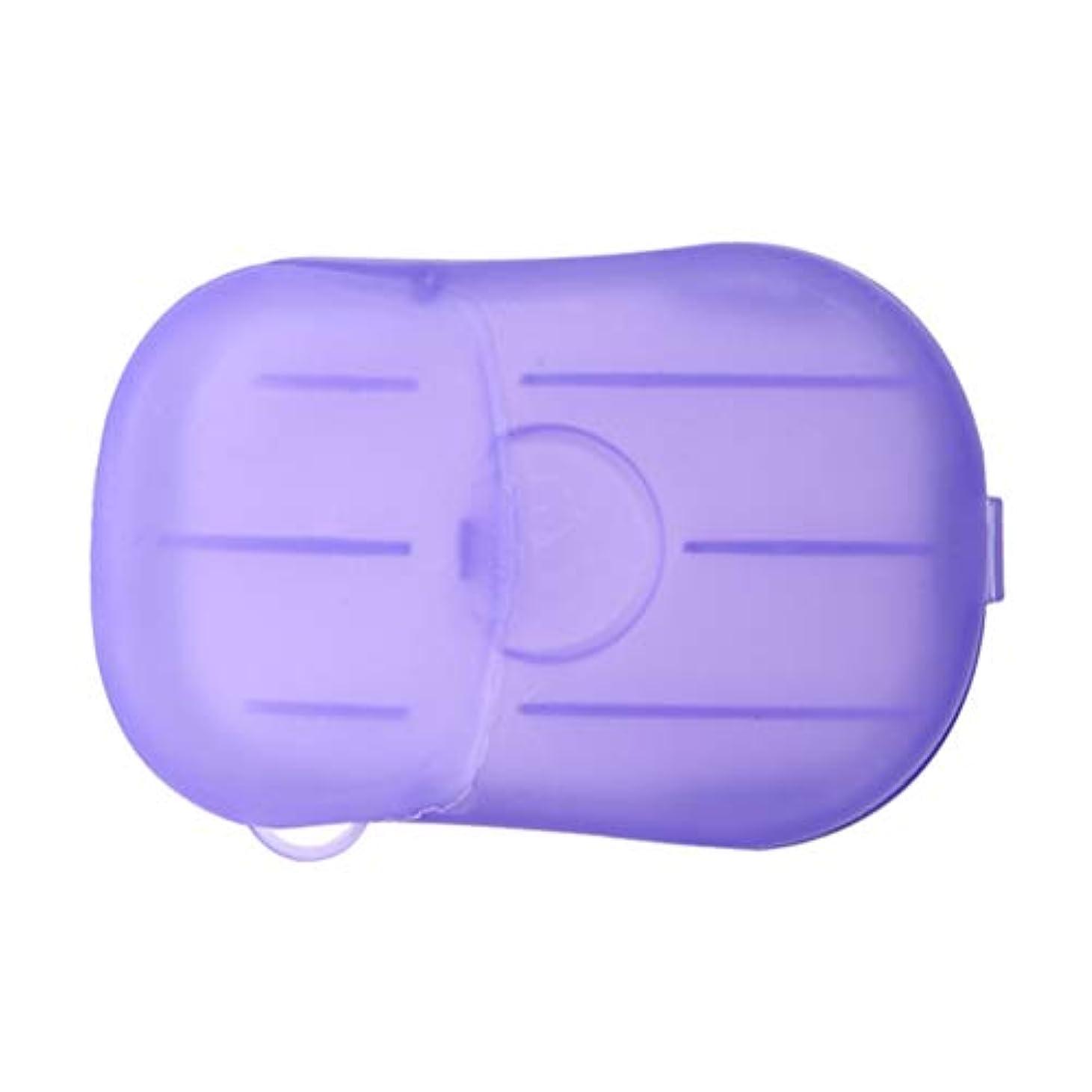 霊追加アマチュアLIOOBO 20ピース石鹸フレーク使い捨てクリーニングペーパーポータブルシャワー用品手洗い石鹸シーツ付きトラベルキャンプハイキング(パープル)