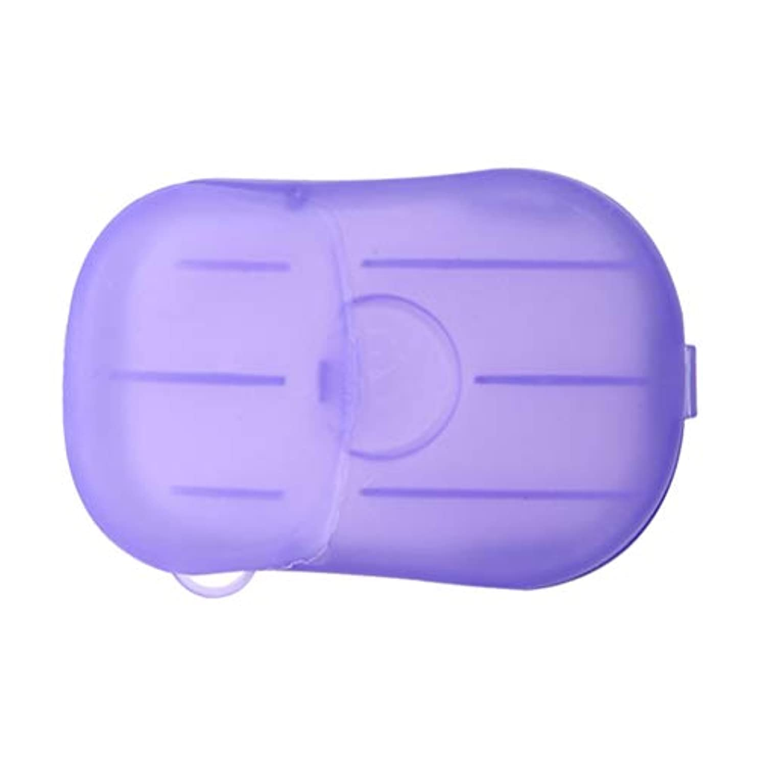 ファンタジー机専門LIOOBO 20ピース石鹸フレーク使い捨てクリーニングペーパーポータブルシャワー用品手洗い石鹸シーツ付きトラベルキャンプハイキング(パープル)