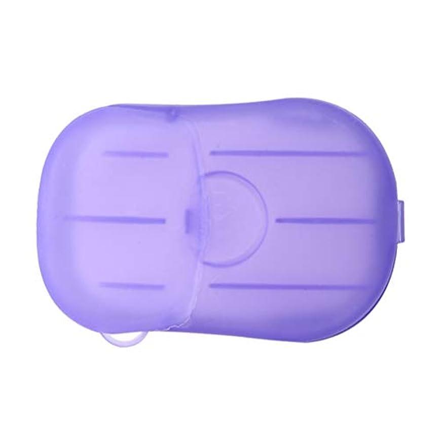 本達成可能流出LIOOBO 20ピース石鹸フレーク使い捨てクリーニングペーパーポータブルシャワー用品手洗い石鹸シーツ付きトラベルキャンプハイキング(パープル)