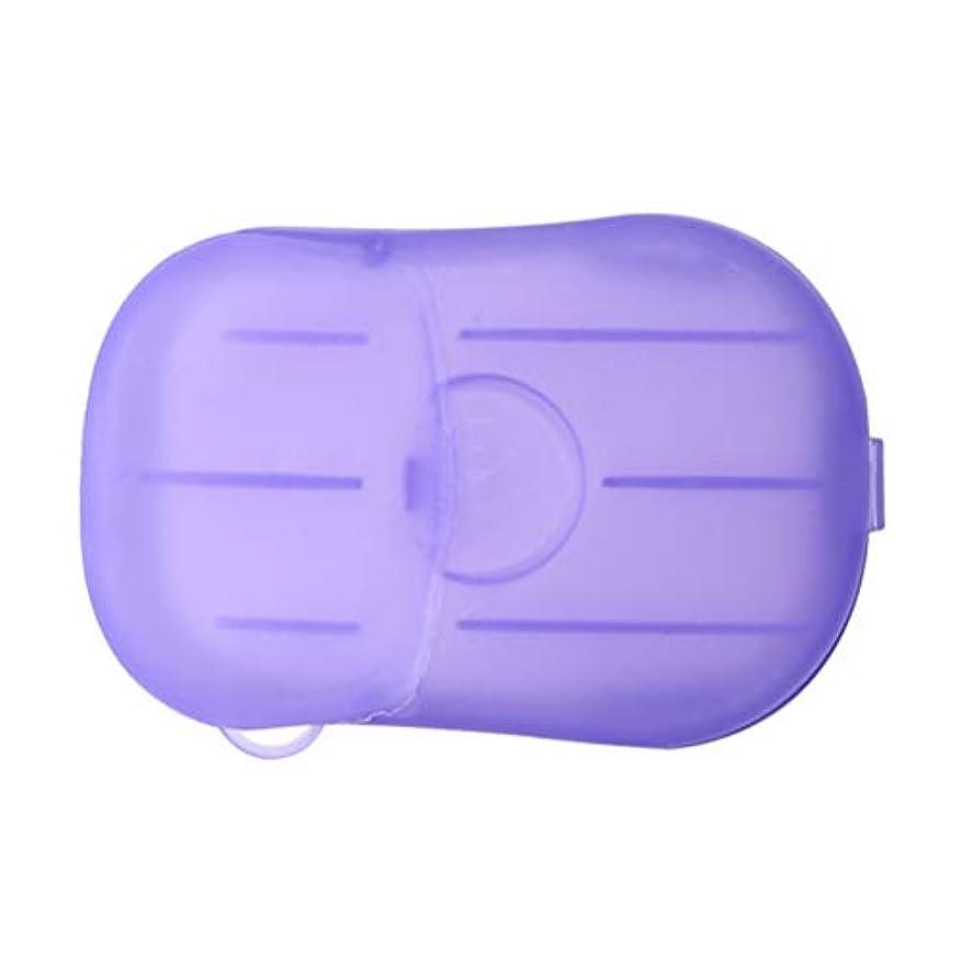 未亡人カウボーイ小康LIOOBO 20ピース石鹸フレーク使い捨てクリーニングペーパーポータブルシャワー用品手洗い石鹸シーツ付きトラベルキャンプハイキング(パープル)