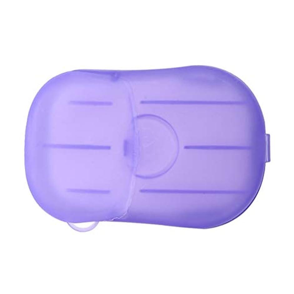警察キラウエア山そこLIOOBO 20ピース石鹸フレーク使い捨てクリーニングペーパーポータブルシャワー用品手洗い石鹸シーツ付きトラベルキャンプハイキング(パープル)