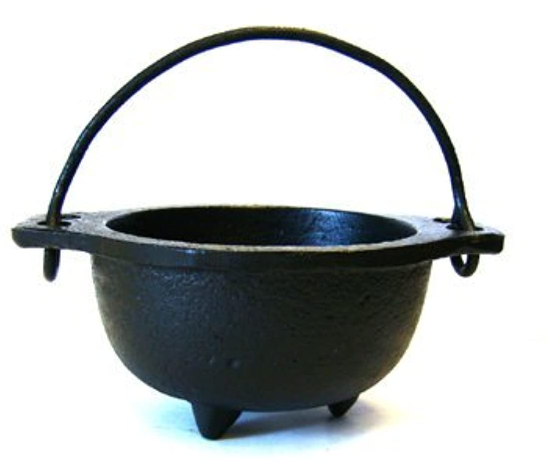 効果的債務者キャロライン(6.4cm Diameter) - Cast Iron Cauldron w/handle, ideal for smudging, incense burning, ritual purpose, decoration, candle holder, etc. (10cm Diameter Handle to Handle, 6.4cm Inside Diameter)