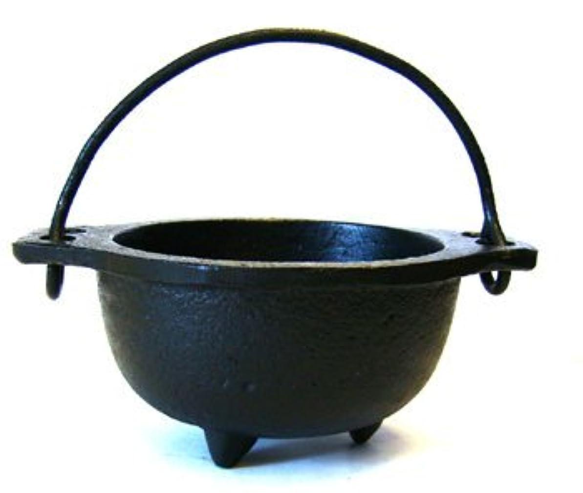 絶妙不幸熱意(6.4cm Diameter) - Cast Iron Cauldron w/handle, ideal for smudging, incense burning, ritual purpose, decoration...