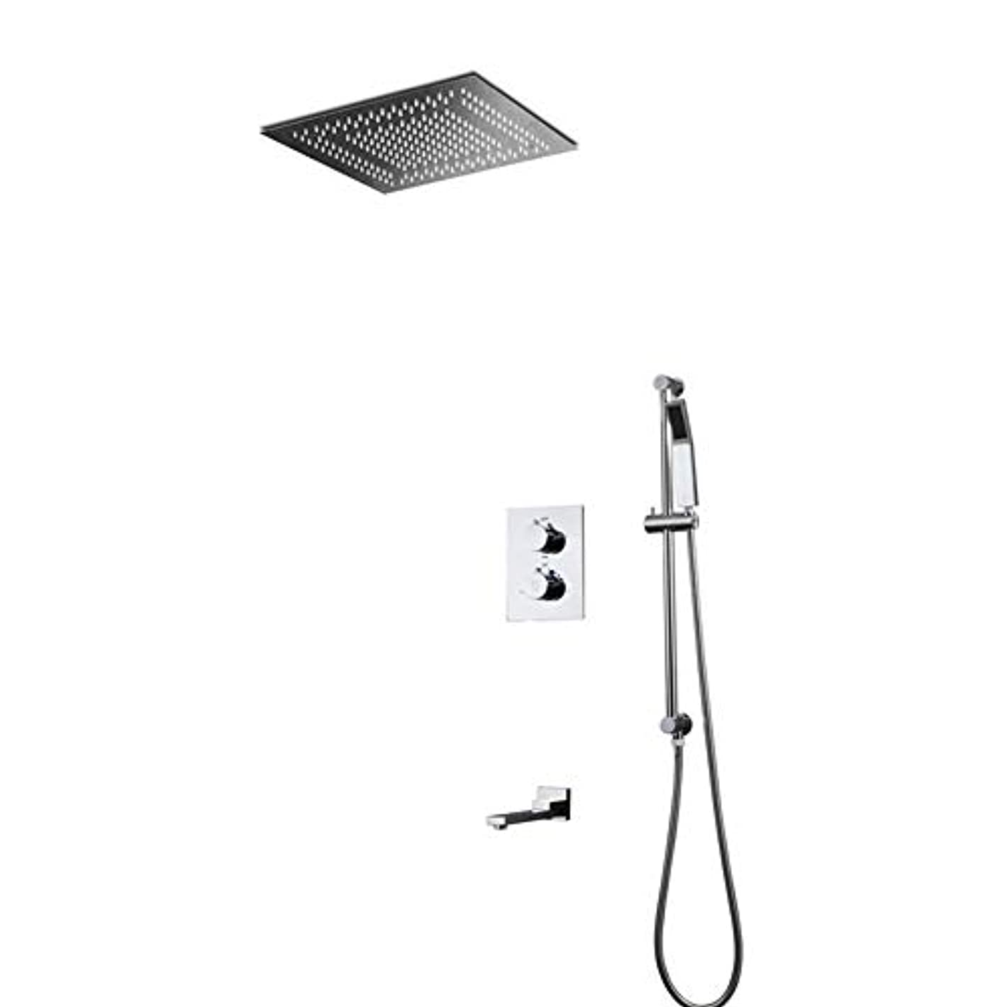 不快なグッゲンハイム美術館密輸LEDシャワーシステム、スパスプレー、降雨モード、304ステンレススチール、ハンドヘルドシャワー隠しシャワー400 * 400MM 2機能LEDトップスプレーウォールシャワーセット (色 : B)