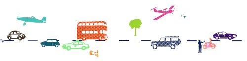 ミミ・ルゥ 自動車と乗り物(6Mウォールボーダー) マルチカラー ART0111