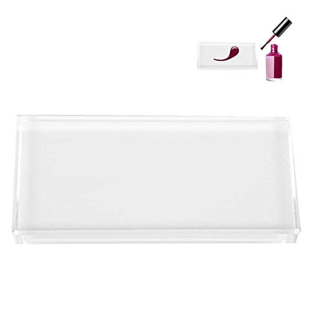 電気陽性放散する外国人ネイルパレット、ネイルアートパレット ネイルポリッシュプレゼンテーションプレート 透明ガラス 色塗料トレイ ネイルDIYツール(01)