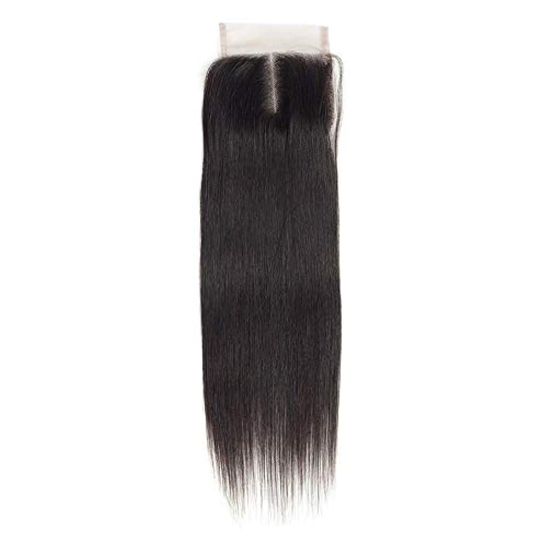 高尚なイチゴ連続的WASAIO 女性のレミー人間ヘアエクステンションクリップのシームレスな髪型4x4のレースフロンタル閉鎖横隔膜パートナチュラルカラー解かの横糸 (色 : 黒, サイズ : 10 inch)