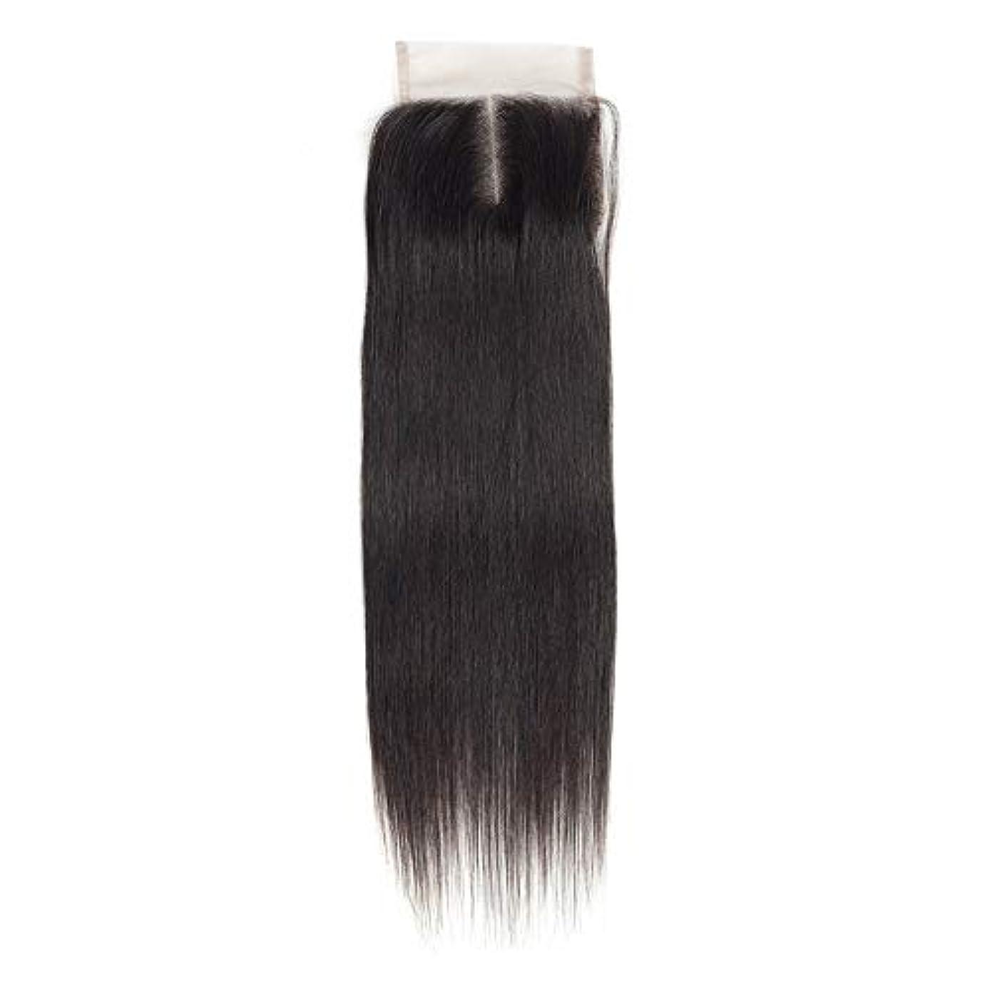 WASAIO 女性のレミー人間ヘアエクステンションクリップのシームレスな髪型4x4のレースフロンタル閉鎖横隔膜パートナチュラルカラー解かの横糸 (色 : 黒, サイズ : 10 inch)