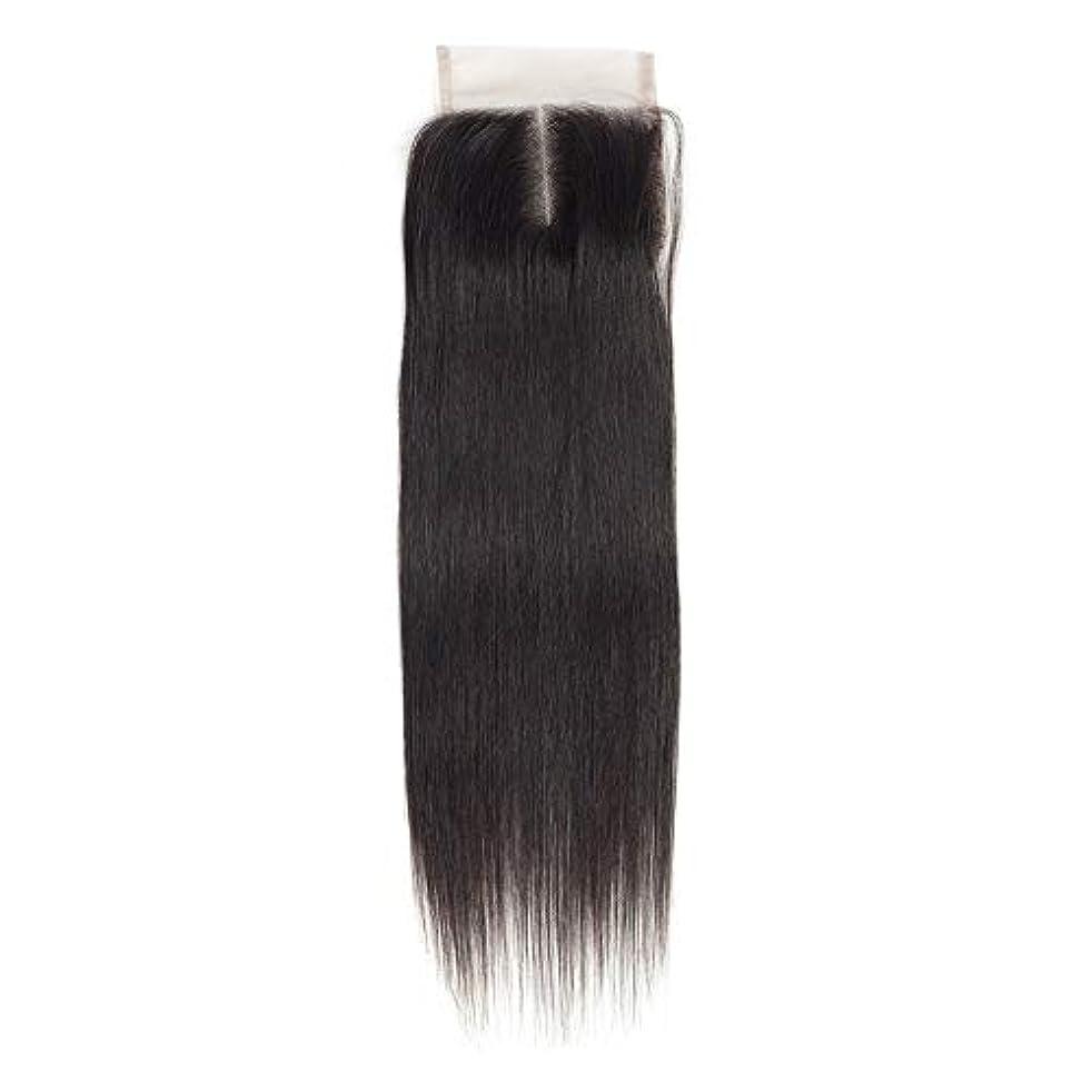あごひげ人工的な活性化WASAIO 女性のレミー人間ヘアエクステンションクリップのシームレスな髪型4x4のレースフロンタル閉鎖横隔膜パートナチュラルカラー解かの横糸 (色 : 黒, サイズ : 10 inch)