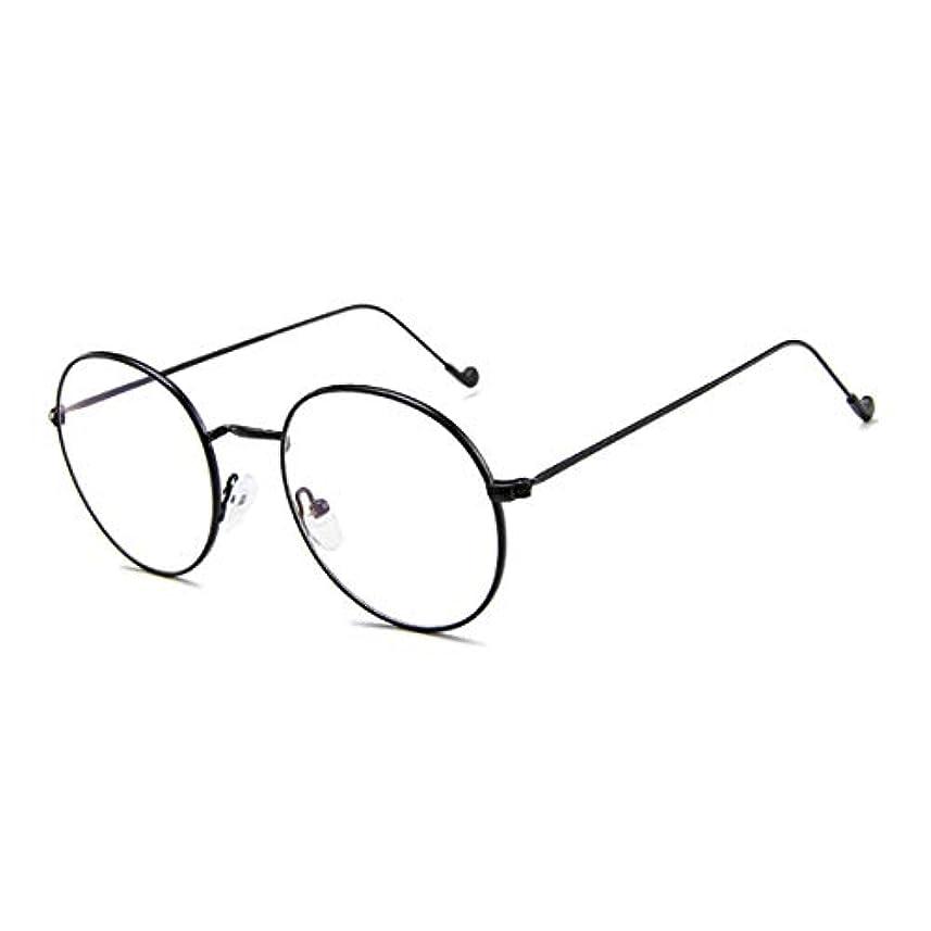 広々みなさん補充GD1766ヴィンテージラウンドフレームメタルプレーンガラスパーソナリティ合金脚メガネ男性女性ミラーメガネ-ブラック