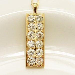 18金 イエローゴールド 2ct ダイヤモンド プレート デザイン ペンダント ds-1541125