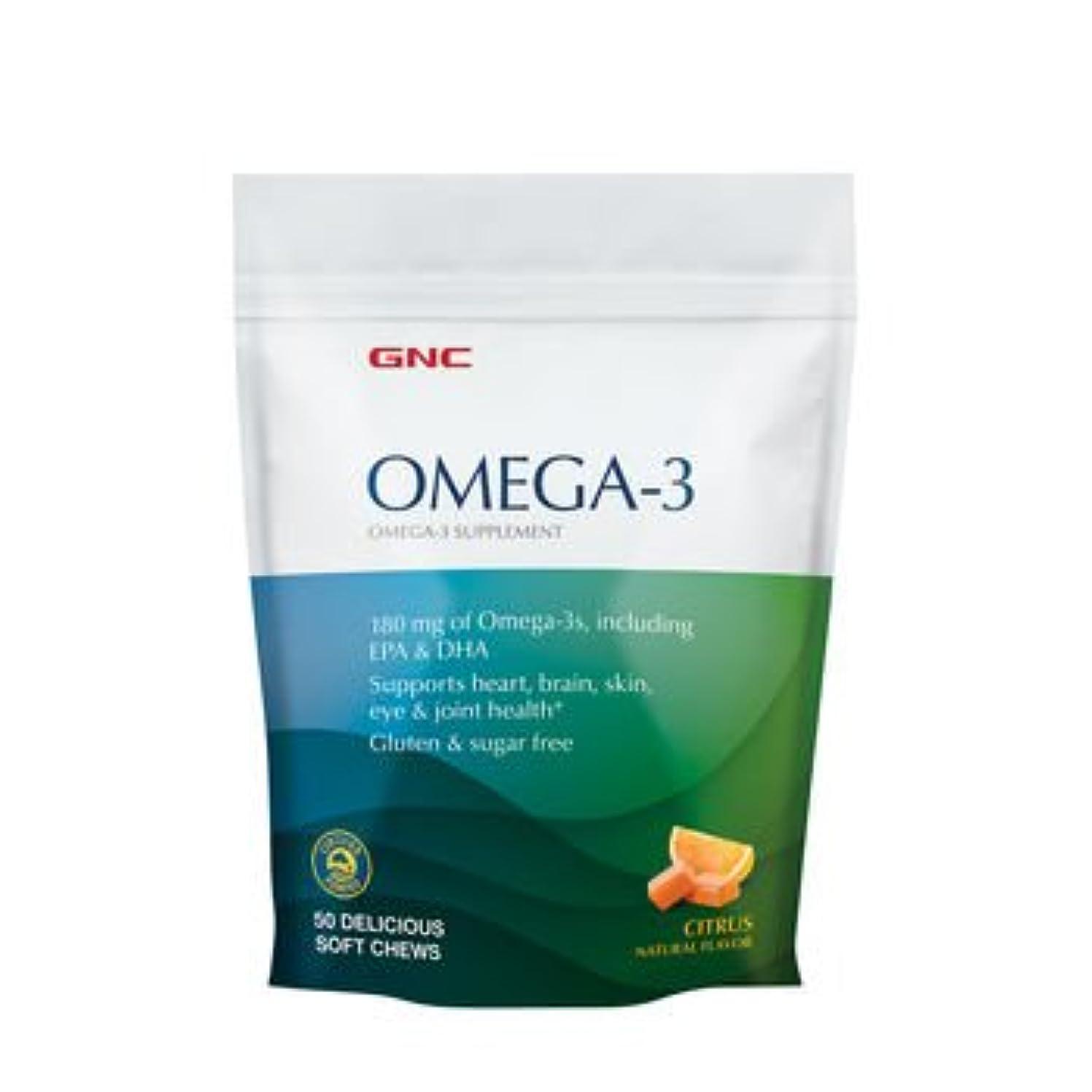 ラフ専門用語インフルエンザGNC FISH, オメガ3ソフトキャンディ, シトラスフレーバー, 50粒
