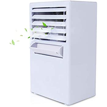 Vshow 扇風機 卓上冷風扇 風量3段階切り替え 角度調整可能 コンパクトと超静音 気化式冷風機 強風 加湿機能 超音波ミスト ミニエアコンファン 熱中症と暑さ対策 クーラー 省エネ-ホワイト