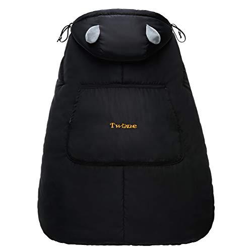 TWONE(トォネ)抱っこひもカバー 抱っこひもケープ べびキャリアカバー 防寒カバー あったか すべての抱っこ紐に対応可 エルゴ 風よけ ウィンターカバー お出かけ用 3wayケープ 収納袋付き 冬 人気 出産お祝い ブラック
