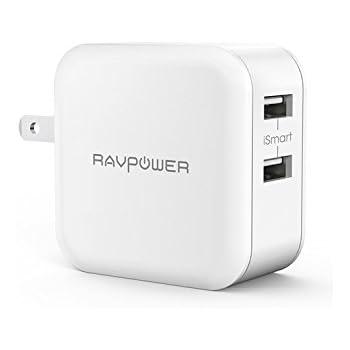 充電器 RAVPower 24W 2ポート usbコンセント 急速充電器 iPhone iPad スマホ タブレット モバイルバッテリー 等対応 acアダプタ (ホワイト)