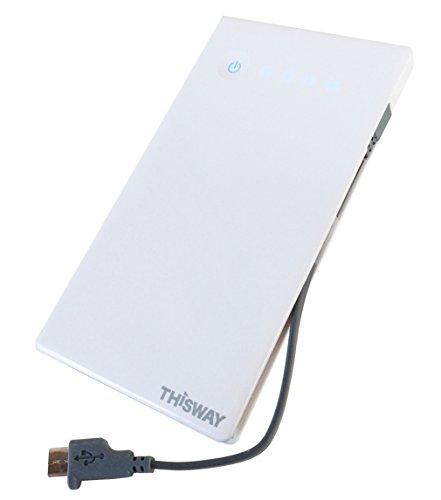 THISWAY【モバイルバッテリー4040mA】携帯に便利な超薄型・軽量  安心・安全の Panasonic製セル使用   Micro USBケーブル一体型   2台同時充電・ タブレットの充電もOK