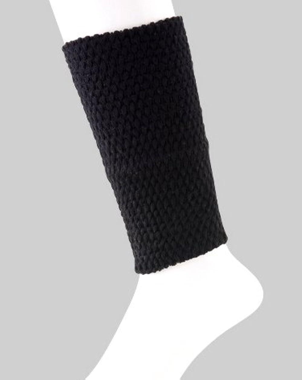 ペグ回復する底日本製 足首ウォーマー 表綿100% 二重構造で暖かい 春夏 冷房対策 20cm丈 (ブラック)