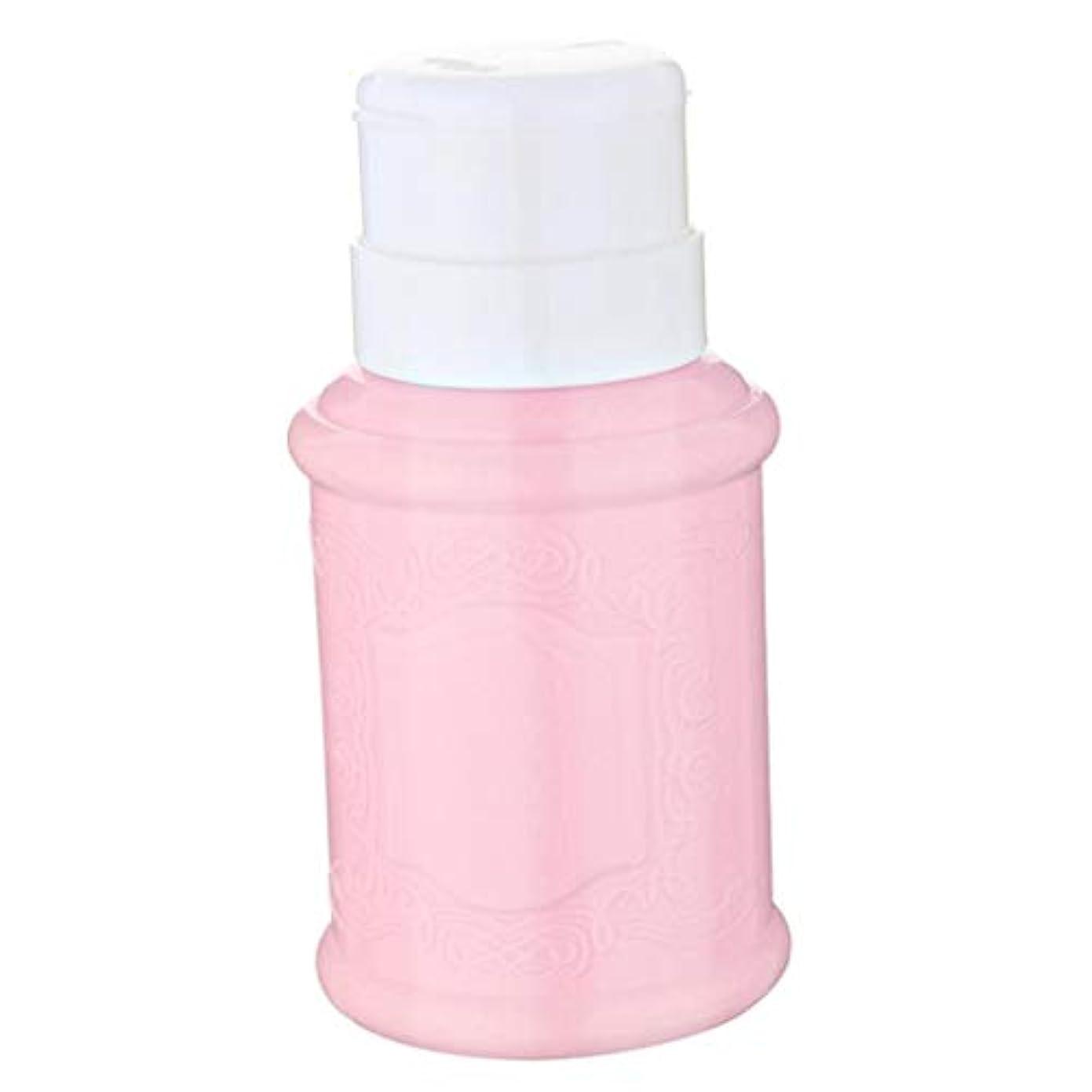 暴徒キャップアルコールCUTICATE 全3色 空ポンプ ボトル ネイルクリーナーボトル ポンプディスペンサー ジェルクリーナ - ピンク
