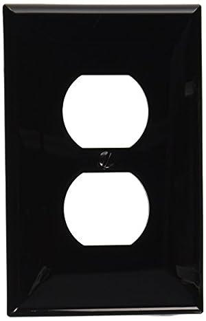 (1 Pack, Black) - Leviton PJ8-E 1-Gang Duplex Receptacle Wallplate, Midway Size, Black