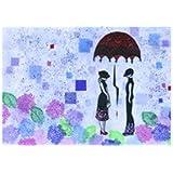【雨の季節のメッセージに】/ 雨季の恋人たち/切り絵デザイン / 5枚セット、封筒付 (ポストカード)