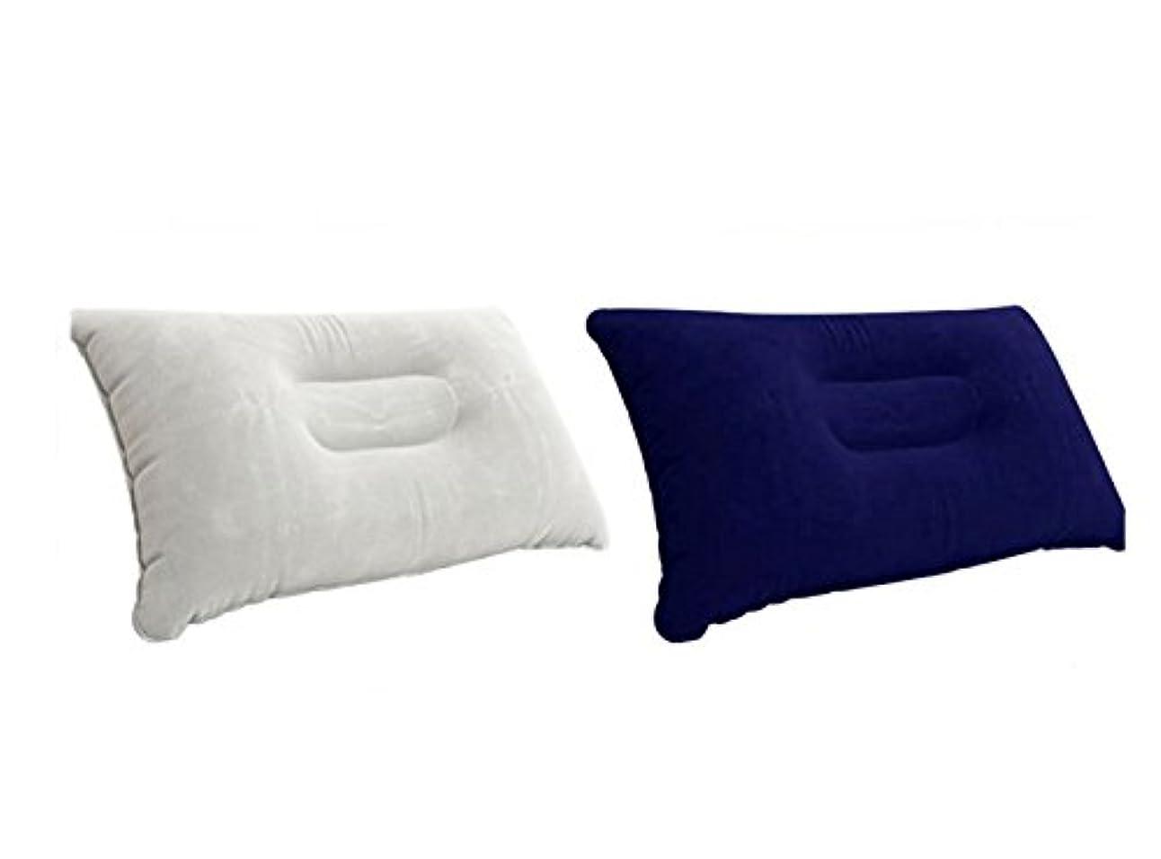 力学ストライプ助手アウトドア キャンプ 旅行 コンパクト エアー携帯枕 【ネイビー】