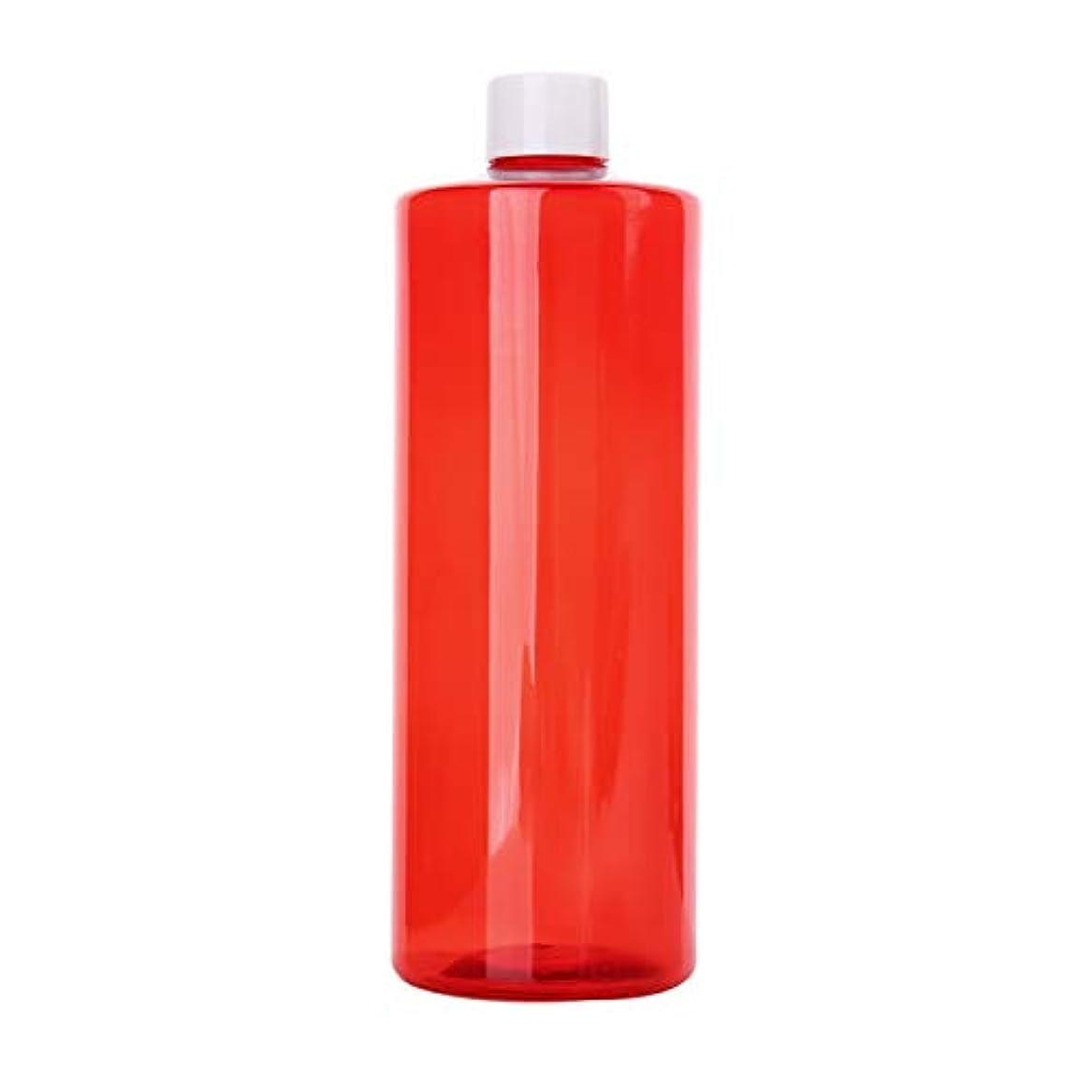 まっすぐ可動式魔術1本 化粧品用 詰め替えボトル 詰め替え容器 大容量 500ml 中栓付き 使いやすい 化粧水用 シャンプー クリーム 貯蔵用 携帯用 空容器 おしゃれ 白ヘッド レッド
