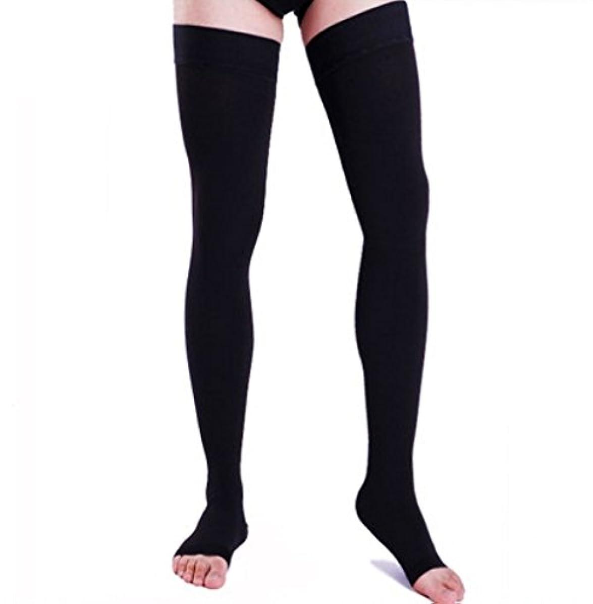 【エコノミー症候群予防】男性用 着圧ソックス オープントゥ ロング (L, ブラック)