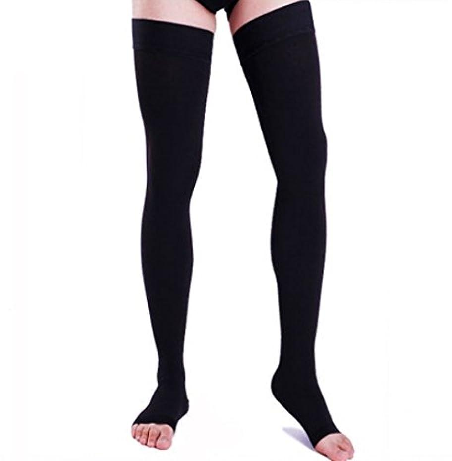 レシピワイドハイジャック【エコノミー症候群予防】男性用 着圧ソックス オープントゥ ロング (XL, ブラック)