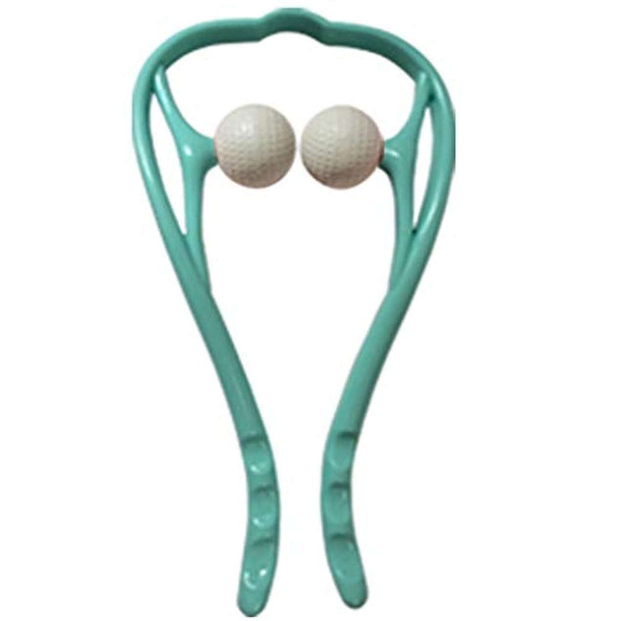 悪魔負立場手動首のマッサージャーの球の頚部U字型ハンドルの圧力点のマッサージャー手動自己筋肉マッサージ,Blue