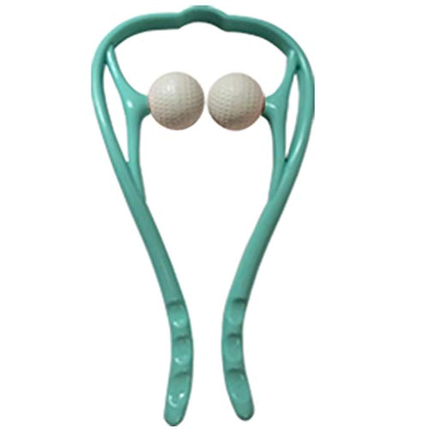 二層硫黄エッセイ手動首のマッサージャーの球の頚部U字型ハンドルの圧力点のマッサージャー手動自己筋肉マッサージ,Blue