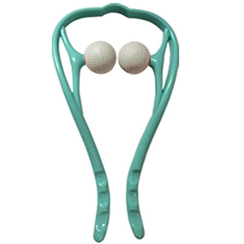側面民主主義ブランデー手動首のマッサージャーの球の頚部U字型ハンドルの圧力点のマッサージャー手動自己筋肉マッサージ,Blue