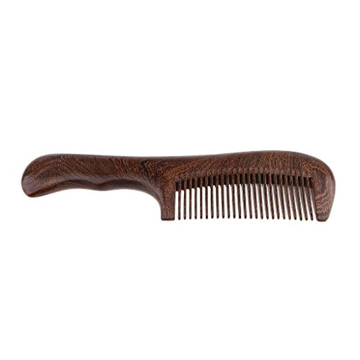 パンダベース線木製櫛 手作り ヘアブラシ ウッドコーム ハンドヘルド マッサージブラシ 2仕様選べ - 細かい歯
