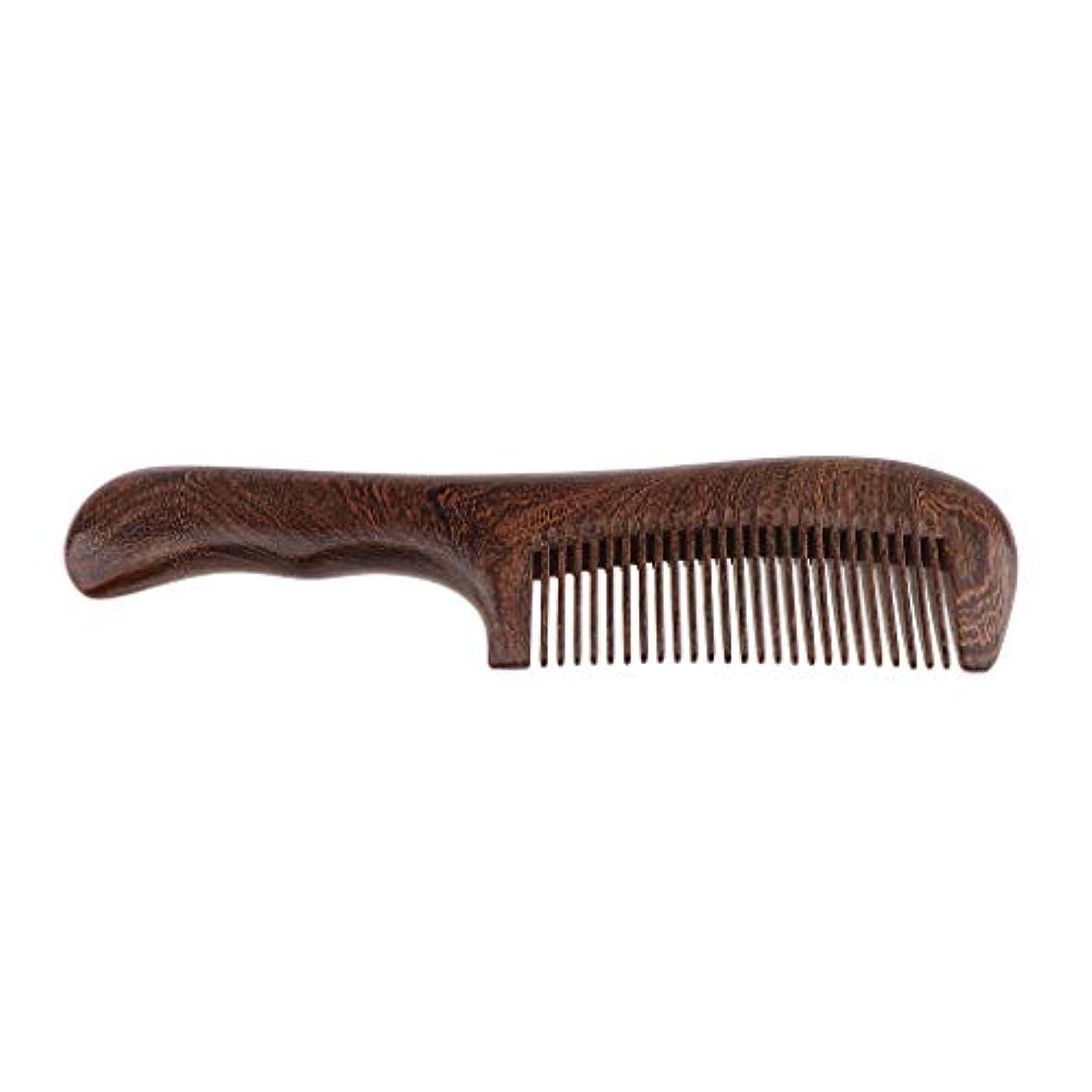 壊滅的な対人挑発する木製櫛 手作り ヘアブラシ ウッドコーム ハンドヘルド マッサージブラシ 2仕様選べ - 細かい歯