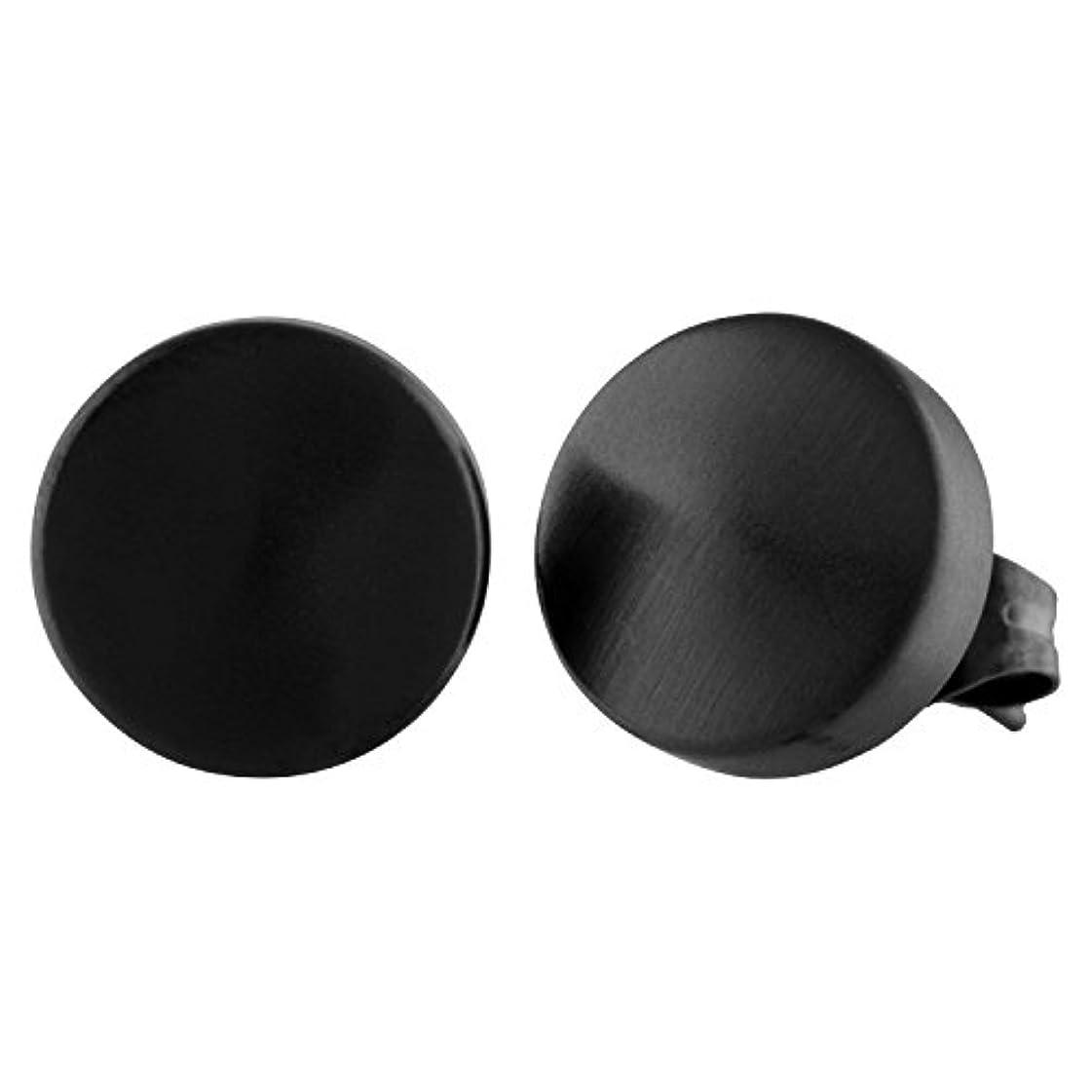 操縦する写真顔料メンズブラックマット仕上げラウンドステンレススチールスタッドイヤリング10 mm