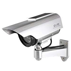 防犯 ダミーカメラ ソーラーパネル 充電式 防雨 ボックス型 (シルバー) OS-163