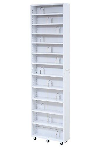 JKプラン 1cmピッチ 大容量 隙間ラック 幅16.5cm 12段 高さ 200 cm すき間を埋める 本棚 ブックスタンド付き 棚板 かんたん調節 メモリ付き FRM-0004-WH