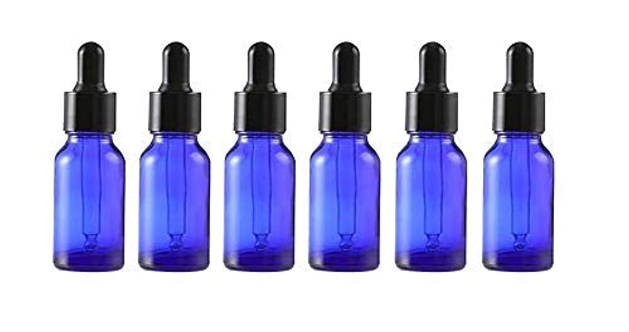 熱弱点まつげ6Pcs Empty Refillable Blue Glass Essential Oil Dropper Bottles Makeup Cosmetic Sample Container Vial Pots With...