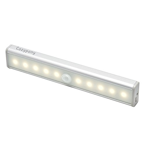 Cozypony センサーライト 人感センサー 10LED 貼り付け型 USB充電 改良版 電球色 L802