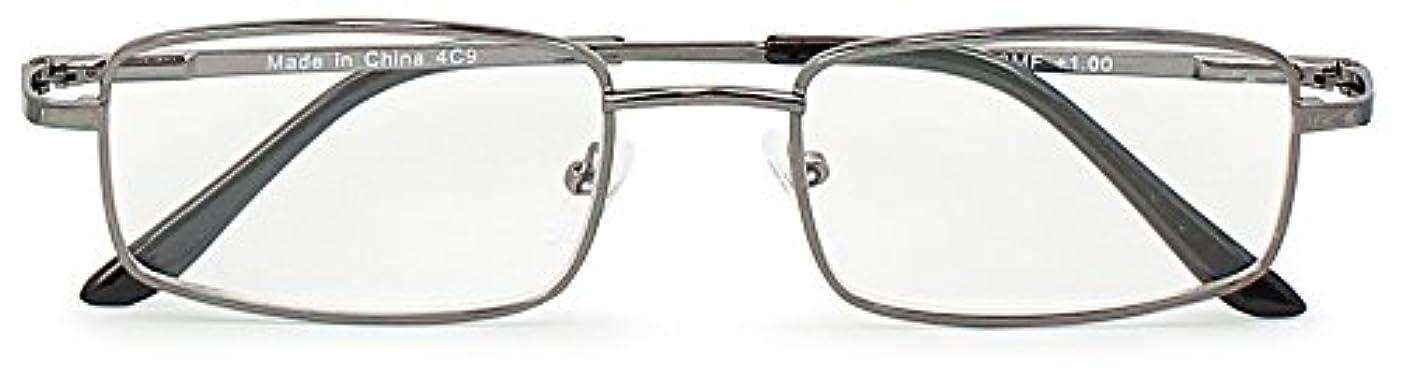 エニックス 老眼鏡 メンズ +1.0 度数 メタルフレーム ガンメタリック WT-403MF+1.00