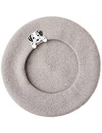 ベレー帽、かわいい帽子刺繍ソフトウール手作りファッション冬ウール甘い文学ベレー帽手作り暖かい帽子,Gray,51Cm