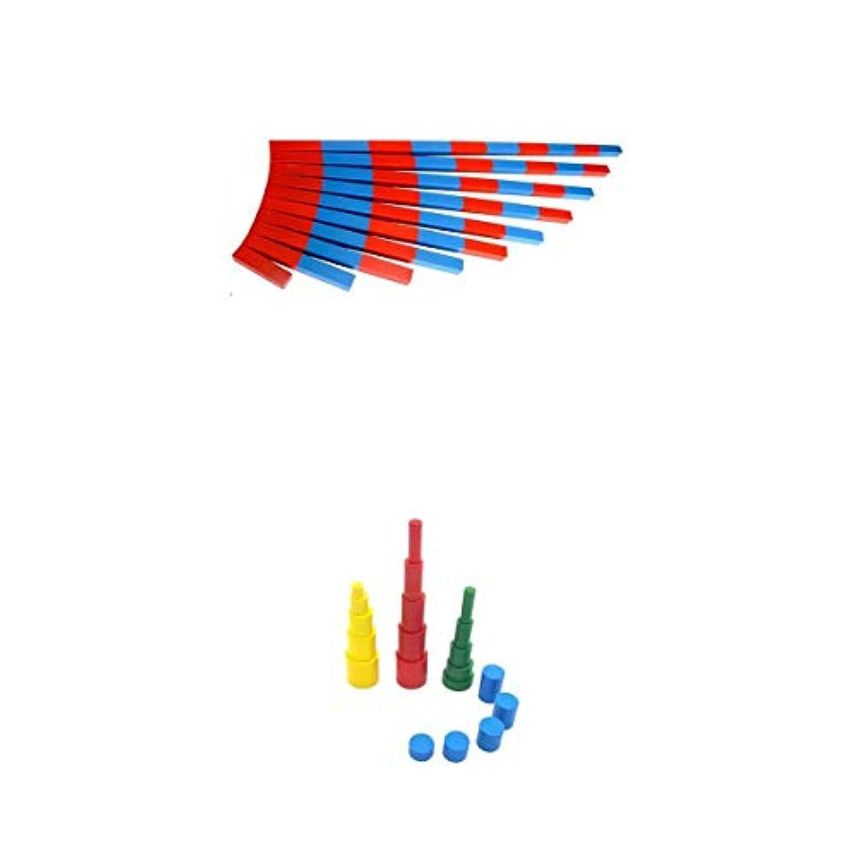 KESOTO 積み木 想像力を育む 知育のつみき 出産祝い 贈り物 知育玩具教具 色つき円柱 数値ロッド