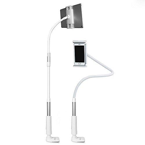 AcTopp 多用途タブレット用ホルダー フレキシブルアームスタンド ipad/携帯マウント 360度回転 アンチショツク クリップ式 調節可能 (ホワイト)