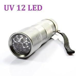 ブラックライト UV 紫外線ライト 12LED (シルバー)