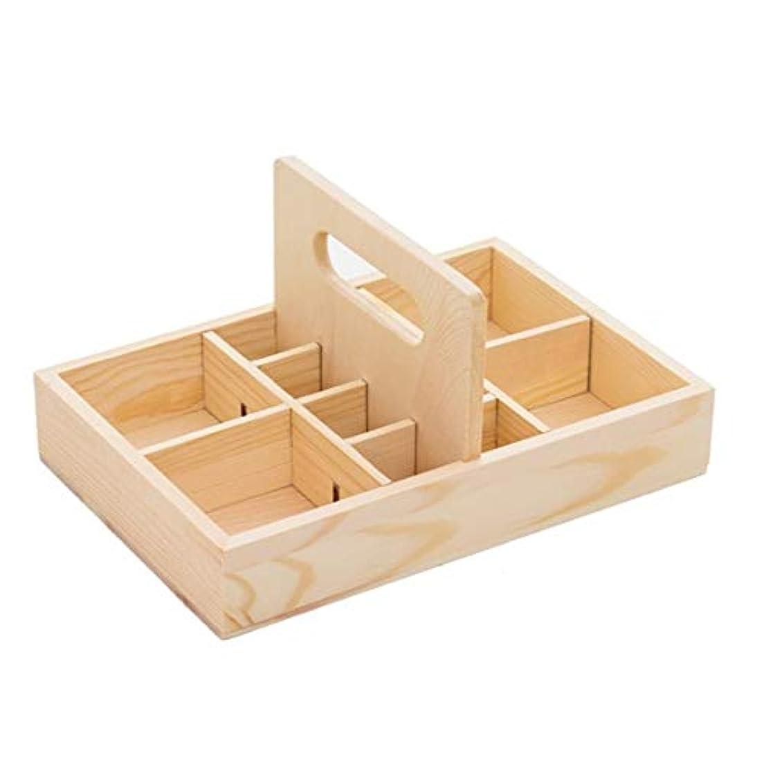 ペパーミント確保する抽象エッセンシャルオイルの保管 キャリー付きエッセンシャルオイルストレージボックスオーガナイザーは木製オイルケースホルダーをハンドル (色 : Natural, サイズ : 22X15X4.2CM)