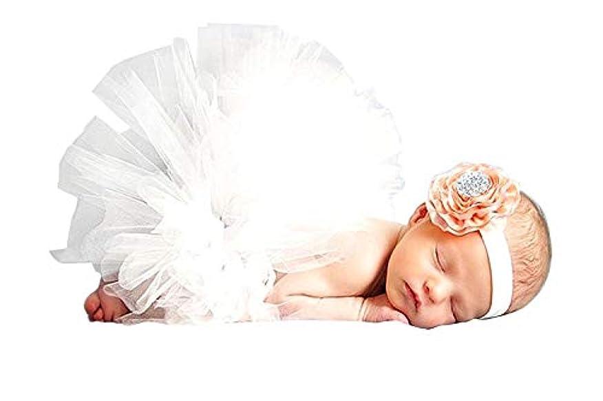 聴く待ってフォークベビー用着ぐるみ コスチューム 寝相アート 新生児 赤ちゃん 写真を撮る道具 お嬢様風 ヘアバンド付 (ホワイト,0-6Month)