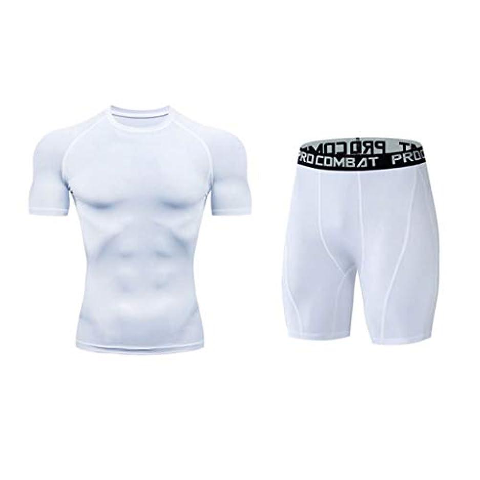 一般アドバンテージ革新2ピースランニングセット男性クイックドライフィットネスタイトスポーツスーツジムトレーニングメンズスポーツスポーツウェア用男性スウェットシャツ (Color : 3, Size : M)