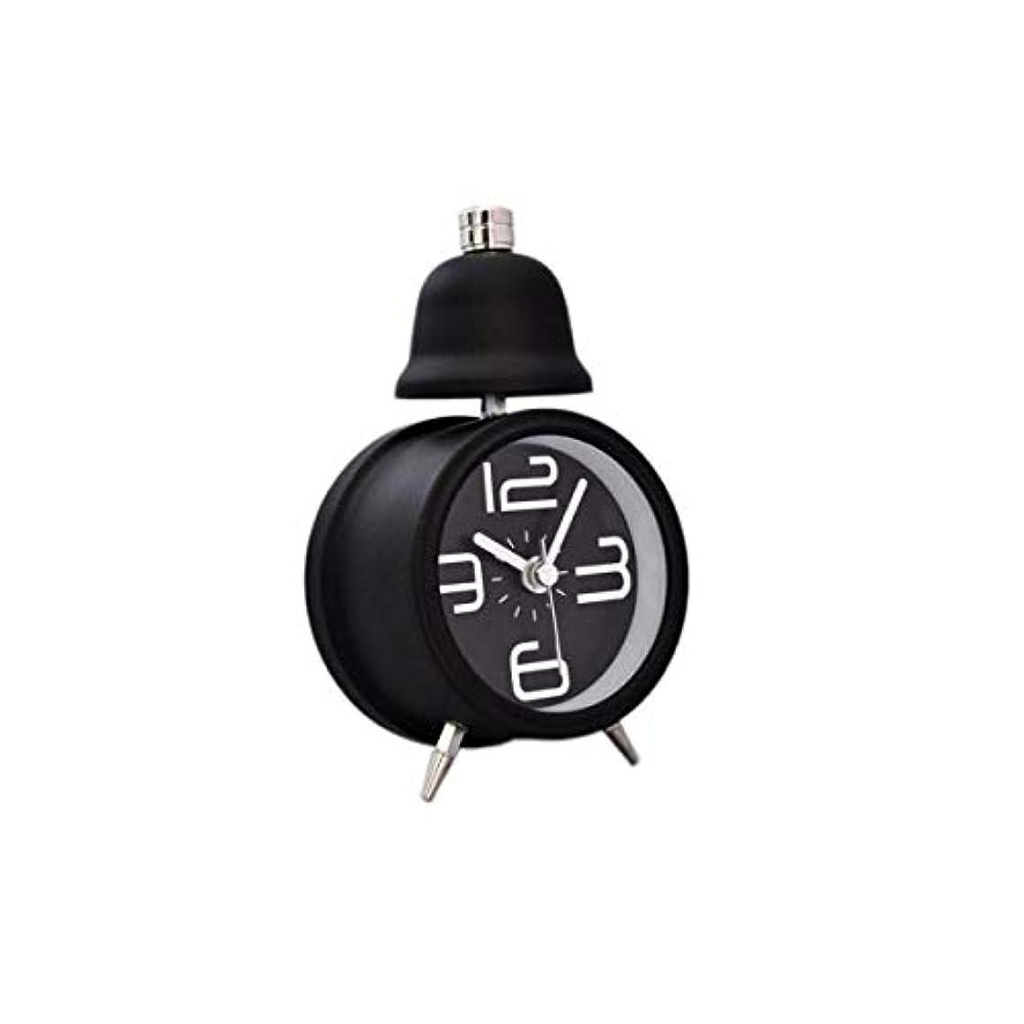 レクリエーションブリーフケース規制Qiyuezhuangshi001 目覚まし時計、クリエイティブサイレント目覚まし時計、かわいい小さな目覚まし時計、学生の夜の光シングルベルベッドサイドクロック黒、(13.5 * 16 cm) 材料の安全性 (Color : Black)
