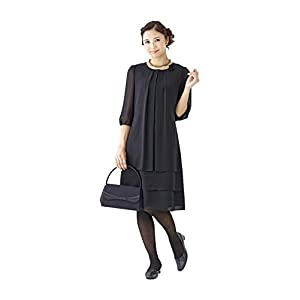 (モノワール) MONOIR 喪服 レディース 礼服 夏 夏用 大きいサイズ ウォッシャブル 洗える 前開き 授乳 ティアード ブラックフォーマル ワンピース 02P52286 17号 ブラック