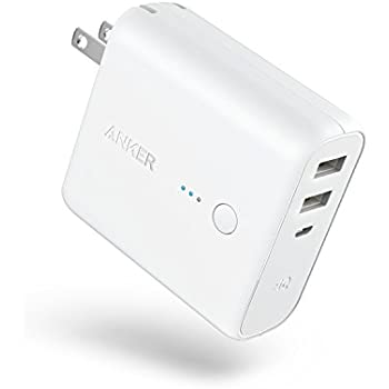 Anker PowerCore Fusion 5000 (モバイルバッテリー 搭載 USB充電器 5000mAh) 【PSE認証済/コンセント 一体型/PowerIQ搭載/折りたたみ式プラグ】 iPhone & Android各種対応 (ホワイト)